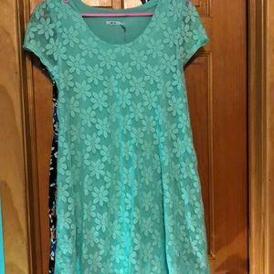Mint floral babydoll dress